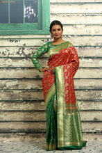 Load image into Gallery viewer, RED AND GREEN COLOUR HALF AND HALF KANJIRASSI SILK SAREE