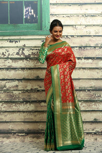 RED AND GREEN COLOUR HALF AND HALF KANJIRASSI SILK SAREE