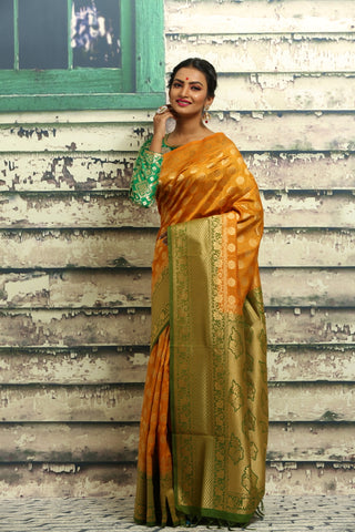YELLOW COLOUR BUTA CHANDERI SILK SAREE
