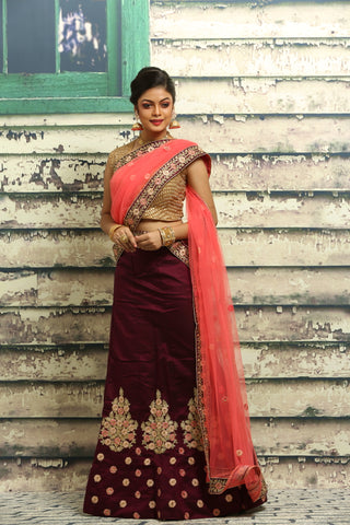 UNSTITCH DARK VIOLTE COLOUR LEHENGA WITH ZARI HIGHLIGHT