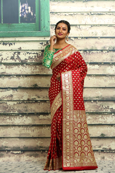 RED COLOUR KATAN SILK BENARASI SAREE