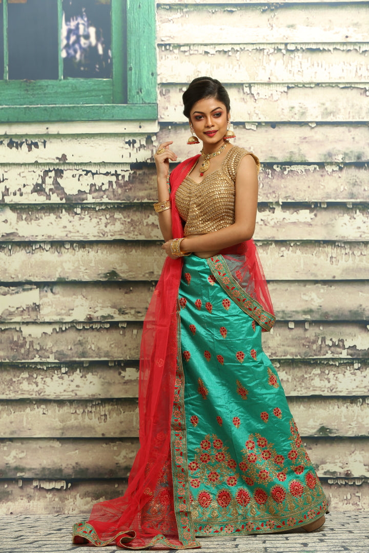 UNSTITCH SEA-GREEN COLOUR LEHENGA WITH ALL BEAUTIFUL ZARI-THREAD EMBROIDERY