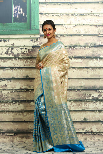 BEIGE COLOUR KATAN SILK BENARASI SAREE