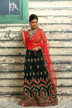 Load image into Gallery viewer, UNSTITCH DARK GREEN COLOUR LEHENGA WITH ALL OVER ZARI-THREAD EMBROIDERY