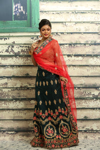 UNSTITCH DARK GREEN COLOUR LEHENGA WITH ALL OVER ZARI-THREAD EMBROIDERY