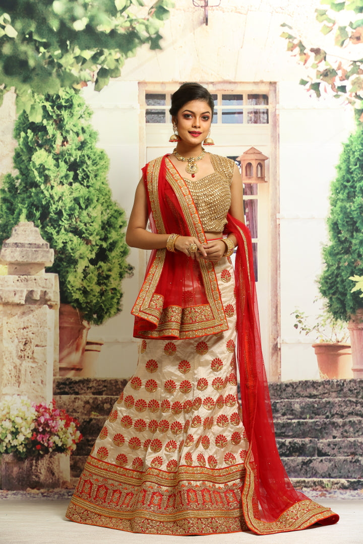 BEIGE COLOUR UNSTITCH SILK LEHENGA WITH ALL OVER ZARI HIGHLIGHT