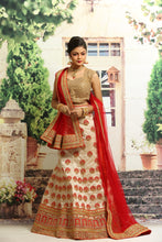 Load image into Gallery viewer, BEIGE COLOUR UNSTITCH SILK LEHENGA WITH ALL OVER ZARI HIGHLIGHT