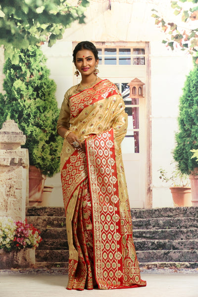 BEAUTIFUL RED AND BEIGE COLOUR KORIAL KTAN SILK BENARASI SAREE