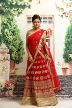 Load image into Gallery viewer, UNSTITCH RED COLOUR VELVET LEHENGA WITH ALL OVER ZARI EMBROIDERY