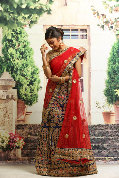 UNSTITCH BLUE COLOUR SILK LEHENGA WITH ALL OVER ZARI-THREAD EMBROIDERY