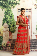 Load image into Gallery viewer, UNSTITCH RED COLOUR SILK LEHENGA WITH ALL OVER GOLDEN ZARI HIGHLIGHT