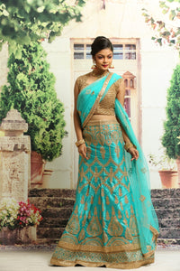 UNSTITCH SE-GREEN COLOUR SILK LEHENGA WITH ALL OVER GOLDEN ZARI EMBROIDERY