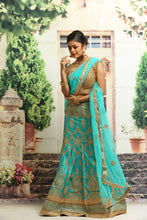 Load image into Gallery viewer, UNSTITCH SE-GREEN COLOUR SILK LEHENGA WITH ALL OVER GOLDEN ZARI EMBROIDERY
