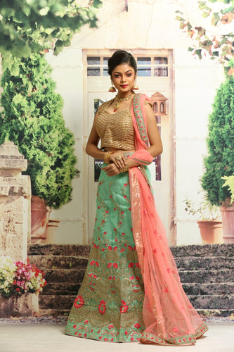 LIGHT GREEN COLOUR LEHENGA WITH ALL OVER ZARI-THREAD EMBROIDERY