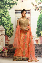 Load image into Gallery viewer, UNSTITCH ORANGE COLOUR NET LEHENGA WITH ALL OVER ZARI EMBROIDERY