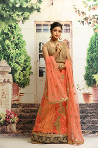 UNSTITCH ORANGE COLOUR NET LEHENGA WITH ALL OVER ZARI EMBROIDERY
