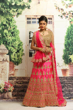 Load image into Gallery viewer, UNSTITCH RANI COLOUR SILK LEHENGA WITH ALL OVER ZARI EMBROIDERY