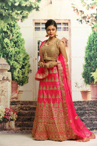 UNSTITCH RANI COLOUR SILK LEHENGA WITH ALL OVER ZARI EMBROIDERY