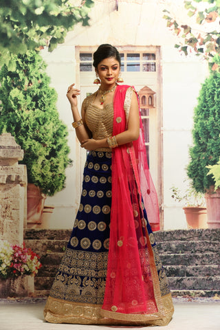 UNSTITCH BLUE COLOUR VELVET LEHENGA WITH ALL OVER ZARI HIGHLIGHT
