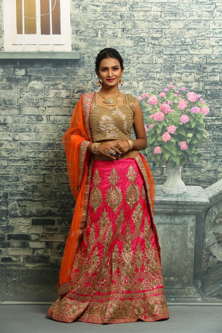 UNSTITCH RANI COLOUR SILK LEHENGA WIT LL OVER ZARI EMBROIDERY