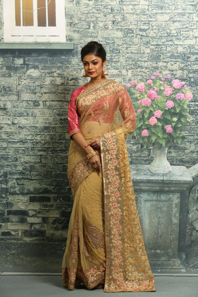 GOLDEN COLOUR NET EMBROIDERED FANCY SAREE