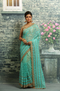 SKY COLOUR NET EMBROIDERED FNCY SAREE
