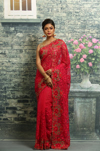 RANI COLOUR NET EMBROIDERED FANCY SAREE