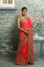 Load image into Gallery viewer, ORANGE COLOUR SILK FANCY SAREE WITH ALL OVER HAND EMBROIDERY HIGHLIGHT