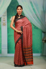 Load image into Gallery viewer, RED COLOUR PRINTED CREPE SILK SAREE WITH CONTRASTING MULTILAYERED BORDER