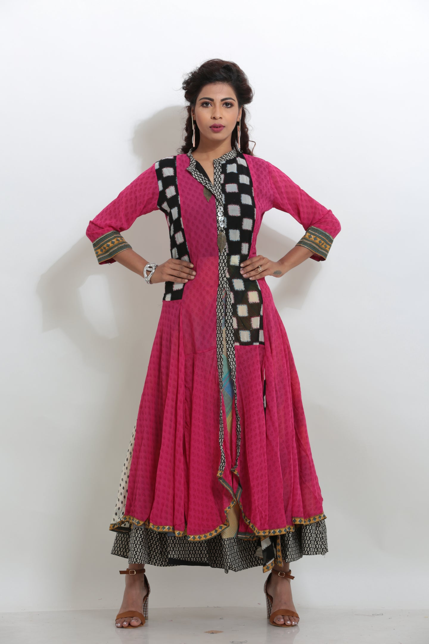 MULTICOLORED MULTILAYERED LONG INDO-WESTERN KURTI