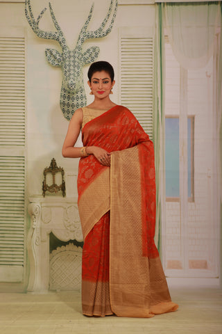 LIGHT ORANGE COLOUR GHICHA SILK SAREE WITH CONTRASTING BEIGE COLOUR PALLU AND BORDER