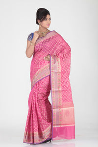 RANI COLOUR SELF CHANDERI SILK SAREE WITH CONTRASTING MINAKARI BORDER