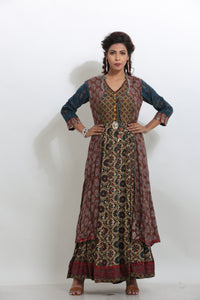 MULTICOLORED DOUBLE LAYERED PRINTED LONG INDO-WESTERN KURTI