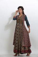 Load image into Gallery viewer, MULTICOLORED DOUBLE LAYERED PRINTED LONG INDO-WESTERN KURTI