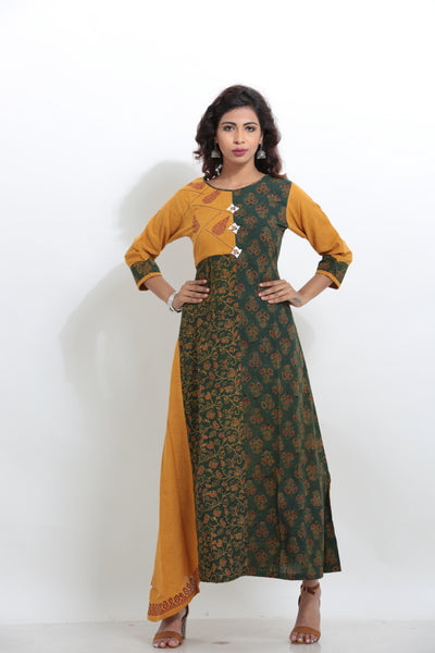 YELLOW AND GREEN COLOUR COTTON BLOCK PRINTED LONG KURTI