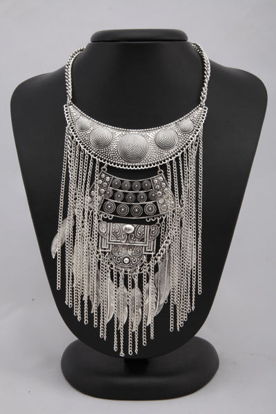 SILVER COLOUR MULTILAYERED CHAIN TEASELS  BOHEMIAN NECKLACE