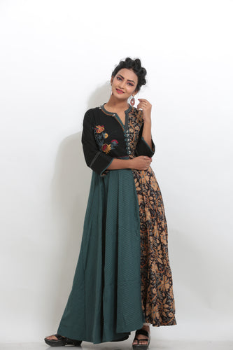 MULTICOLORED KALAMKARI PRINTED LONG KURTI