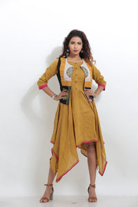 YELLOW COLOUR INDO-WESTERN KURTI WITH CONTRASTING COLOUR SHORT JACKET