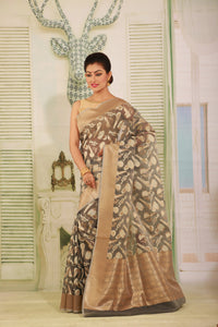 GREY COLOUR BEAUTIFUL JUTE SILK SAREE WITH ALL OVER GOLDEN HIGHLIGHT
