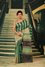 Load image into Gallery viewer, GREEN COLOUR PURE BHAGALPURI SILK HANDLOOM SAREE