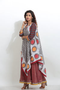 MULTICOLORED PRINTED LONG INDO-WESTERN KURTI