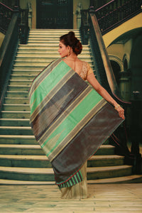 GREEN COLOUR PURE BHAGALPURI SILK HANDLOOM SAREE