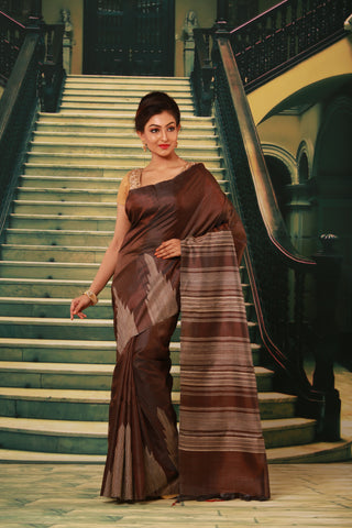 DARK BROWN COLOUR PURE BHAGALPURI SILK HANDLOOM SAREE