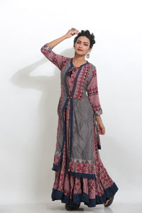 MULTICOLORED LONG PRINTED INDO-WESTERN JACKET KURTI