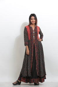 MULTICOLORED MULTILAYRED LONG PRINTED INDO-WESTERN CHIFFON KURTI