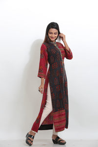 MULTICOLORED PRINTED STRAIGHT LONG KURTI