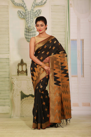 BLACK COLOUR BEAUTIFUL JUTE SILK SAREE WITH CONTRAST COLOUR HIGHLIGHT