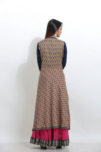 MULTICOLORED MULTILAYRED PRINTED CHIFFON LONG KURTI