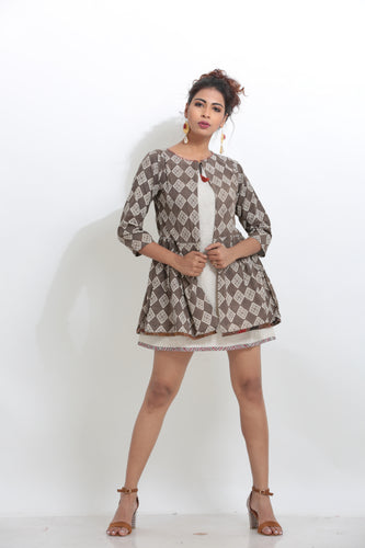 MULTICOLORED COTTON TWOLAYRED SHORT LENGTH INDO-WESTERN KURTI