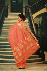 PEACH COLOUR SILK HANDLOOM WITH GOLDEN ZARI WEAVING WORK